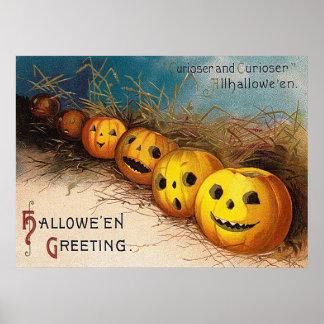 Vintage Halloween pumpkin Holiday decor poster