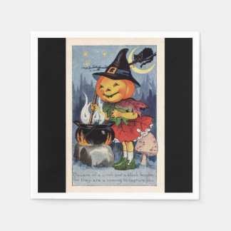 Vintage Halloween Pumpkin Witch Disposable Napkins