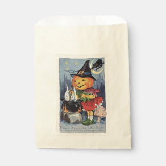 Vintage Halloween Pumpkin Witch Favour Bag