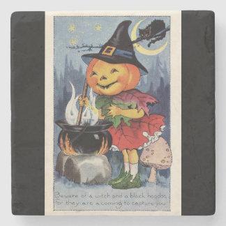 Vintage Halloween Pumpkin Witch Stone Coaster