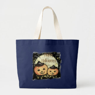 Vintage Halloween Pumpkins Tote / Candy Bag