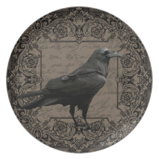 Vintage Halloween raven Plate