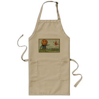 Vintage Halloween Scarecrow and Witch Long Apron