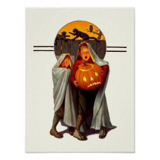 Vintage Halloween Scared Kids Poster