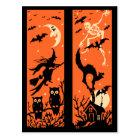 Vintage Halloween Silhouette Illustration Postcard