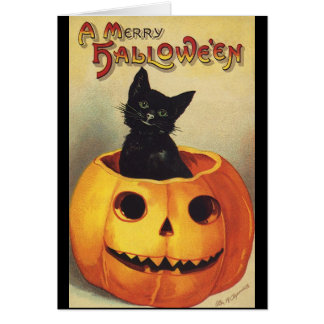 Vintage Halloween Smiling Cute Black Cat Pumpkin Cards