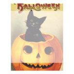 Vintage Halloween Smiling Cute Black Cat Pumpkin Flyers