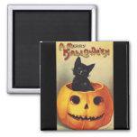 Vintage Halloween Smiling Cute Black Cat Pumpkin Magnet