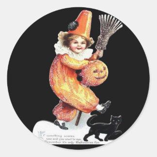 Vintage Halloween Sparkling Costume Party Classic Round Sticker