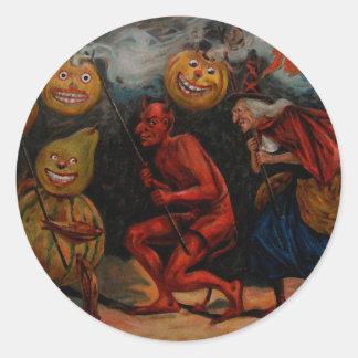 VINTAGE HALLOWEEN STICKER, Raphael Tuck 1909 Classic Round Sticker