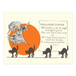 Vintage Halloween Witch and Cats Postcard