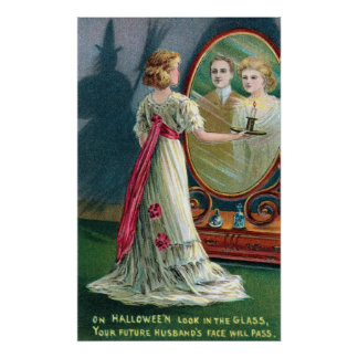 Vintage Halloween witch and woman party poster