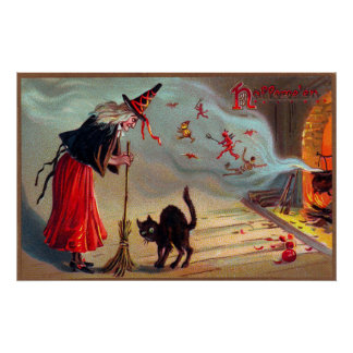Vintage Halloween witch black cat decor poster