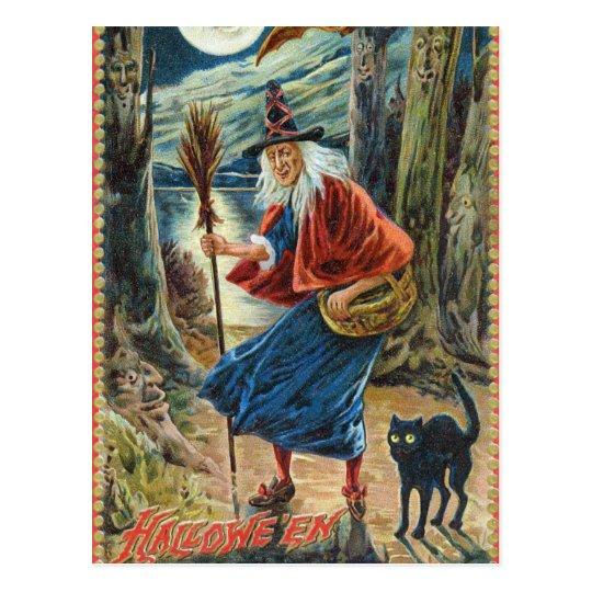 Vintage Halloween witch black cat postcard