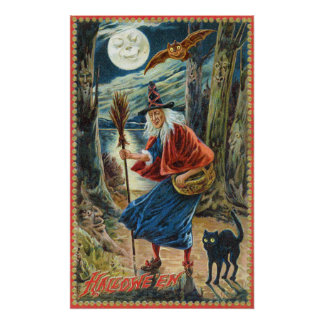 Vintage Halloween witch cat bat party decor poster