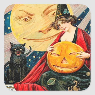 Vintage Halloween witch cat Holiday sticker