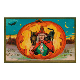 Vintage Halloween witch cat owl party decor poster
