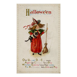 Vintage Halloween witch cat party decor poster