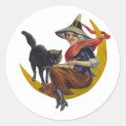 Vintage Halloween Witch Classic Round Sticker