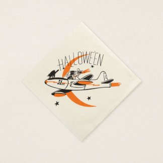 Vintage Halloween Witch Flying A Plane Disposable Napkins