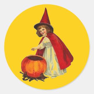 Vintage Halloween Witch Girl Round Stickers