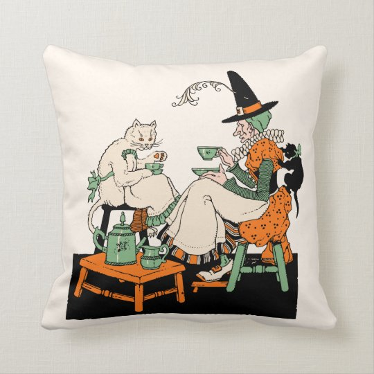 Vintage Halloween - Witch Having Tea with her Cats Throw Pillow