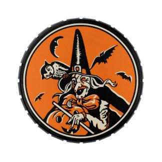 Vintage Halloween Witch Jellybean Tin