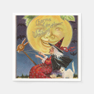 Vintage Halloween witch moon party napkins Disposable Napkins