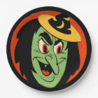 Vintage Halloween Witch Paper Plate
