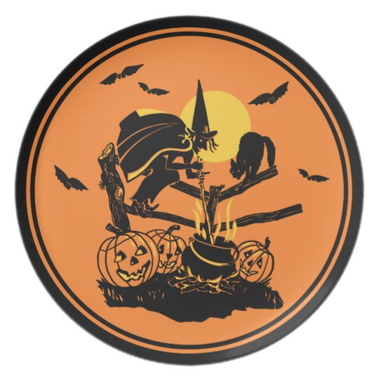 Vintage Halloween Witch Plate