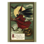 Vintage Halloween Witch Riding a Broom and Moon Invites
