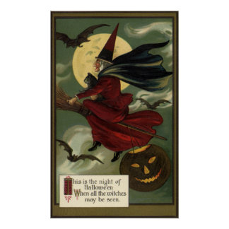 Vintage Halloween Witch Riding a Broom and Moon Poster