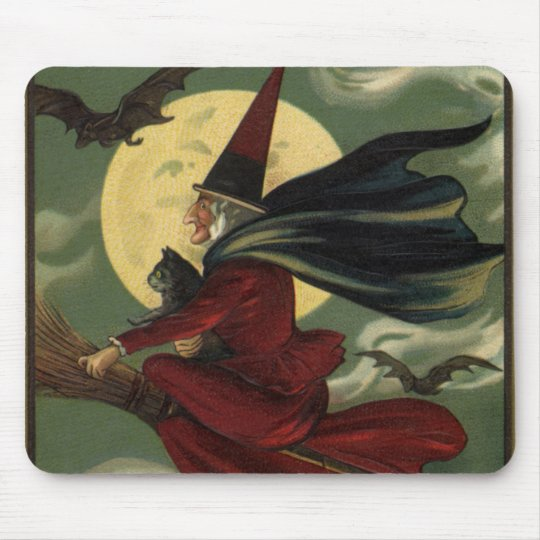 Vintage Halloween Witch Riding a Broom with Cat Mouse Pad