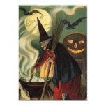 Vintage Halloween Witch Stirring Magic Cauldron