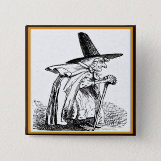 Vintage Halloween Witch Walking with Cane Button