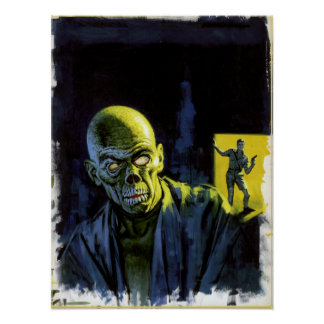 Vintage Halloween Zombie Monster Horror Poster