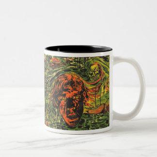 Vintage Halloween Zombies, Grafitti Street Art Two-Tone Coffee Mug