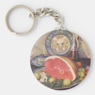 Vintage Ham Dinner with Green Beans and Potatoes Keychain
