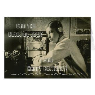 VINTAGE HAM RADIO HAPPY BIRTHDAY MORSE CODE PHOTO CARD