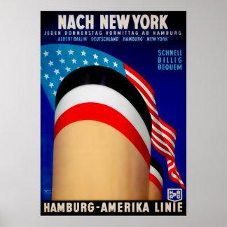 Vintage Hamburg Amerika Ship Poster