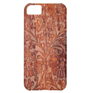 Vintage Hand Carved Wood Case For iPhone 5C