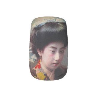 Vintage Hand Colored Japanese Geisha Old Japan Nails Sticker