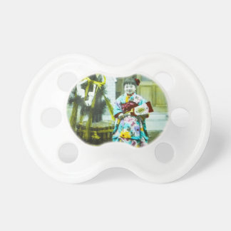 Vintage Hand Colored Shōjo Cute Japanese Girl Pacifier