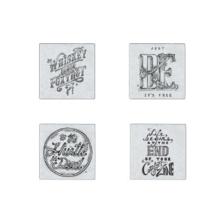 Vintage Hand Drawn Black and White quotes Stone Magnets