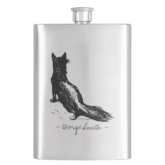 Vintage Hand Drawn Fox. Add your Name. Hip Flask
