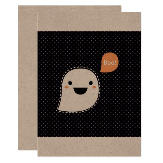Vintage hand-drawn Ghost with Boo sign Card