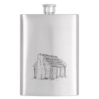 Vintage Hand Drawn Log Cabin. Add your Name. Flask