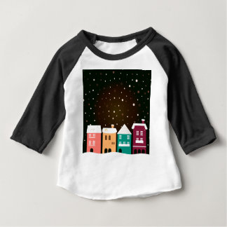 VINTAGE hand-drawn Village with Snow Baby T-Shirt