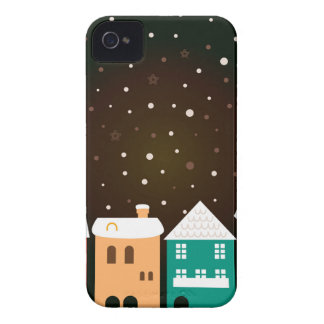 VINTAGE hand-drawn Village with Snow iPhone 4 Case-Mate Case
