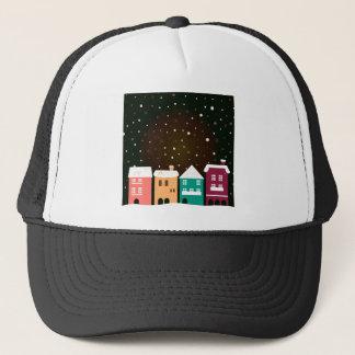 VINTAGE hand-drawn Village with Snow Trucker Hat